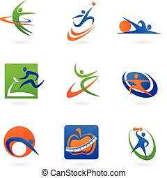logos, fitness, coloré, icônes