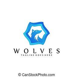 logos, vecteur, conception, gabarit, loups, illustration, compagnie, bleu