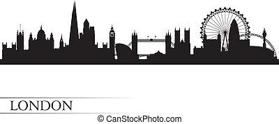 londres, fond, horizon, ville, silhouette