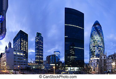 londres, twilight., district financier