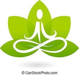 lotus, logo, yoga, /, icône