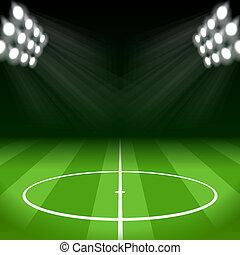 lumières, clair, football, tache, fond