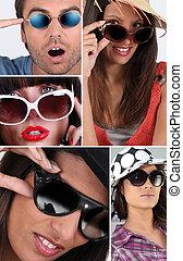 lunettes soleil port, gens