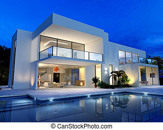 luxueux, piscine, villa