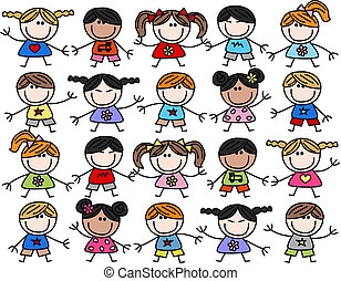mélangé, gosses, enfants, ethnique, heureux