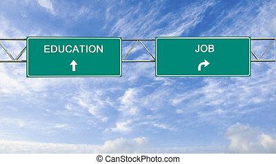 métier, bon, panneaux signalisations, education