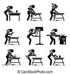métier, confection, bois, outils, icons., crosse, charpentier, industriel, figure femelle, équipement