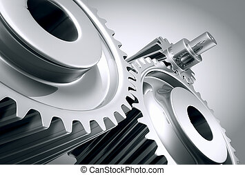 machine, fin, gears., haut