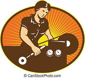 machine, tour, ouvrier, femme, machiniste