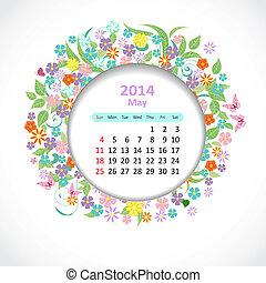 mai, calendrier, 2014
