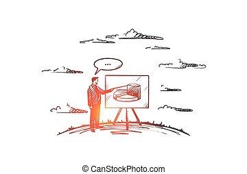 main, entraînement, vector., concept., dessiné, isolé