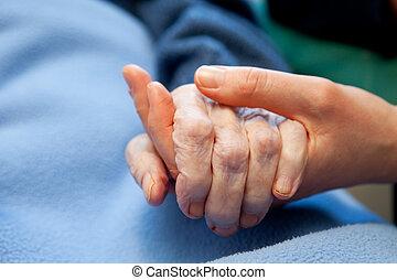 main, vieux, personnes âgées soucient