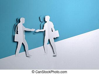 mains, hommes affaires, papier, art, -, deux, affaire, secousse