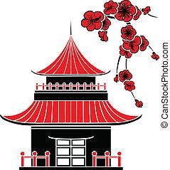 maison, asiatique, fleurs, cerise