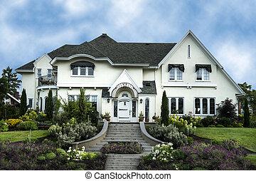 maison, blanc, luxe, extérieur, stuc