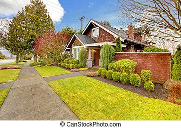 maison, brun, prendre parti, extérieur, printemps