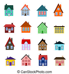 maison, dessin animé, icône