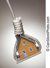 maison, haut, attaché, corde à piquet, pendre