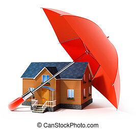 maison, parapluie, rouges, pluie, protéger