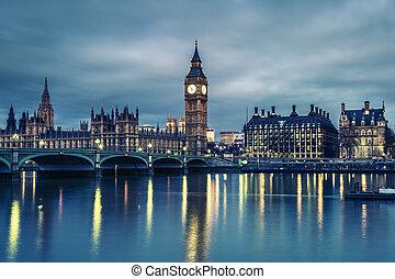 maison, parlement, ben, nuit, grand