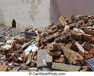 maison pierre, brique, marbre, démoli, décombres