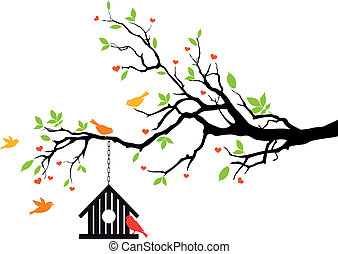 maison, printemps, vecteur, oiseau, arbre