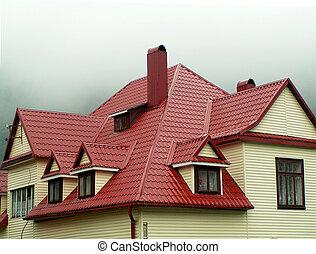 maison, rouges, toit