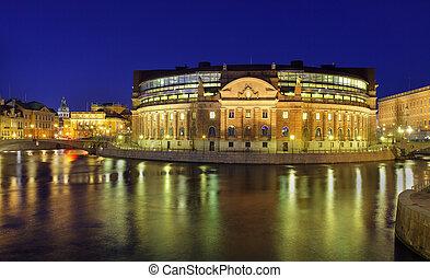maison, stockholm, parlement, éclairé, rigsdag