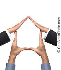 maison, symbole, fait, mains