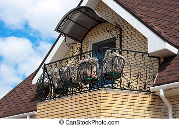 maison, toit, balcon