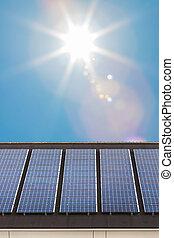 maison, toit, duth, solaire, nouveau, panneaux, rang