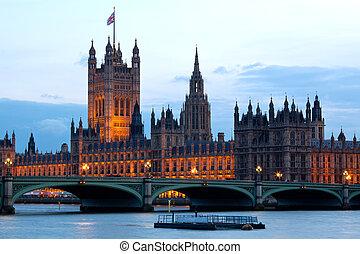 maison, tour, parlement, londres, victoria