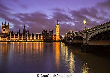 maisons, parlement, crépuscule