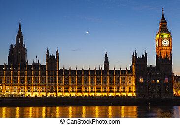 maisons, parlement, londres, crépuscule