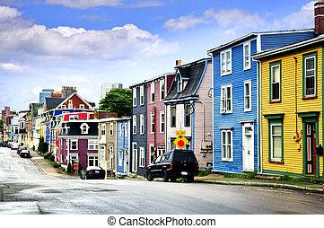 maisons, rue., coloré, john's