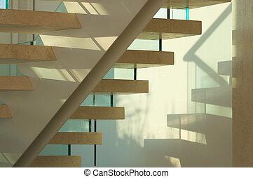 majestueux, verre, escalier, marbre