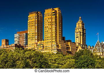 manhattan, central, vu, parc, majestueux, york., nouveau