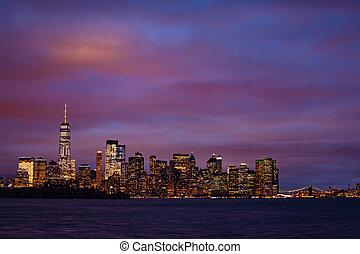 manhattan, new york centre, nuit, hudson, sur
