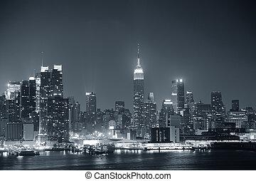 manhattan, noir, ville, york, nouveau, blanc