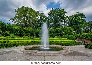 manhattan, york, central, nouveau, parc, jardin, conservatoire, ville, fontaine