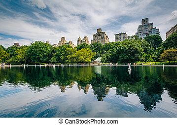 manhattan, york, parc eau, central, nouveau, conservatoire, ville
