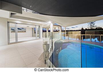 manoir, dusk., moderne, piscine, pont