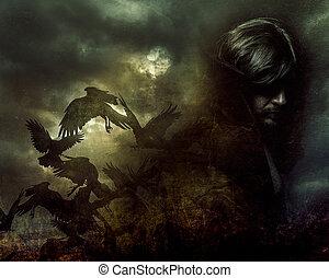 manteau, longs cheveux, paranormal, noir