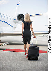 marche, femme, jet, bagage, privé, vers