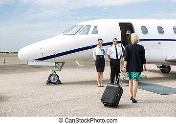 marche, jet, bagage, femme affaires, privé