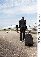 marche, jet, bagage, privé, homme affaires
