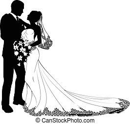 mariée, palefrenier, silhouette