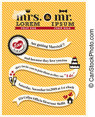 mariage, carte, gabarit, invitation