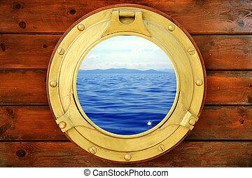 marine, vacances, fermé, hublot, bateau, vue