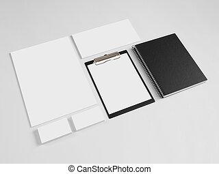 marquer, gabarits, ensemble, notebook., conception corporation